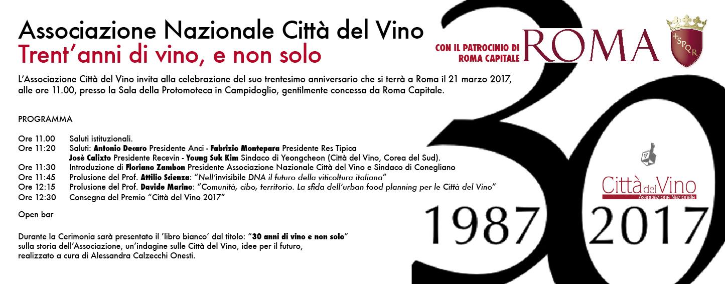 Città del Vino in festa il 21 marzo per il trentennale