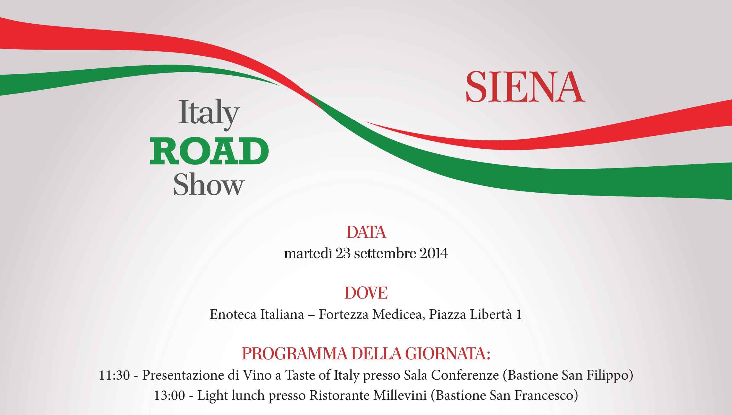 """A SIENA IL ROADSHOW DI VINITALY PER PRESENTARE """"VINO - A TASTE OF ITALY"""" IL PADIGLIONE DEL VINO A EXPO 2015"""