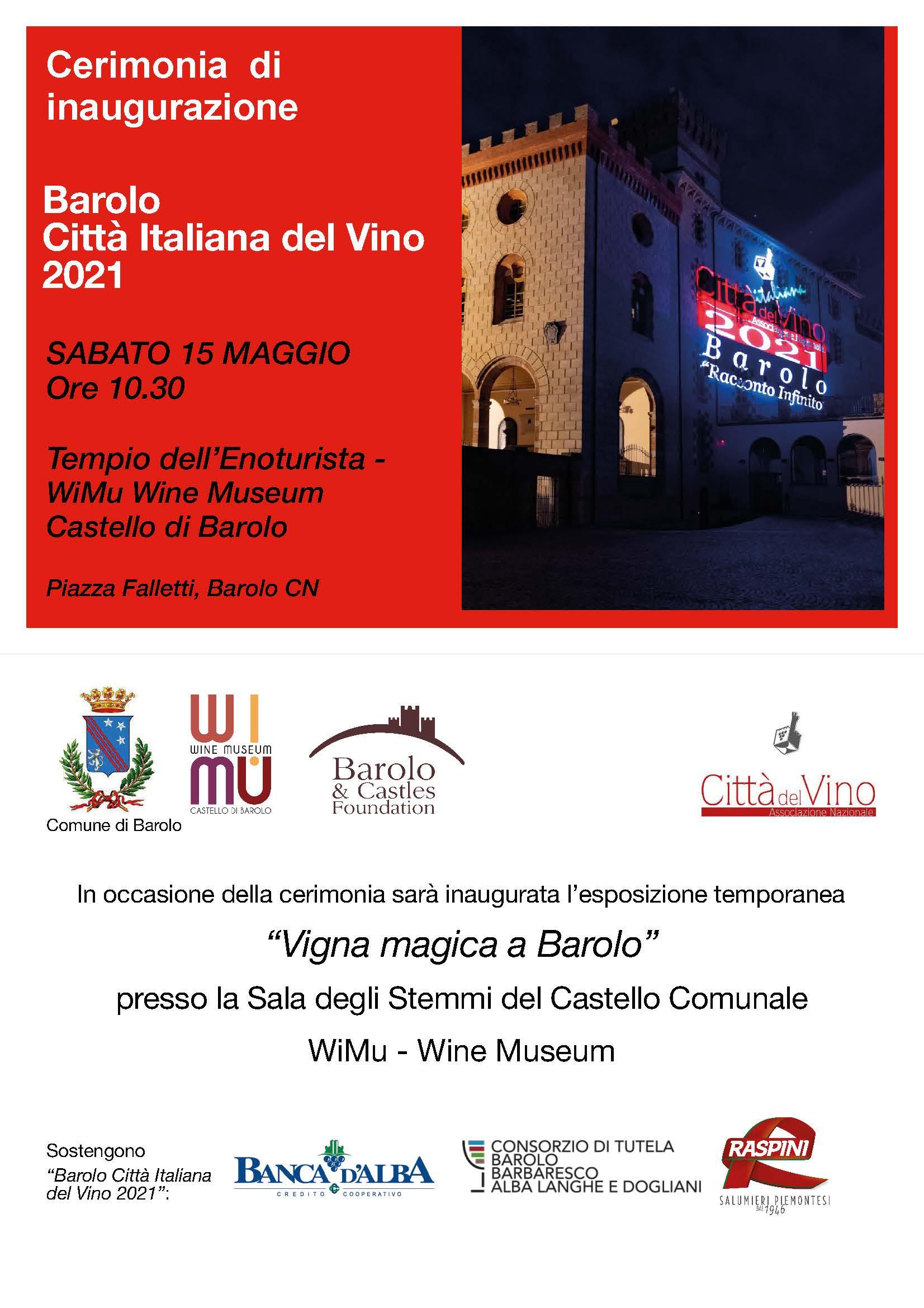 Sabato 15 maggio si inaugura Barolo Città Italiana del Vino 2021